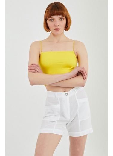 Z Giyim İp Askılı Pamuklu Büstiyer Sarı